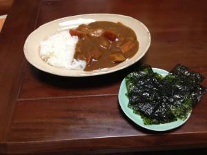 カレーと韓国海苔